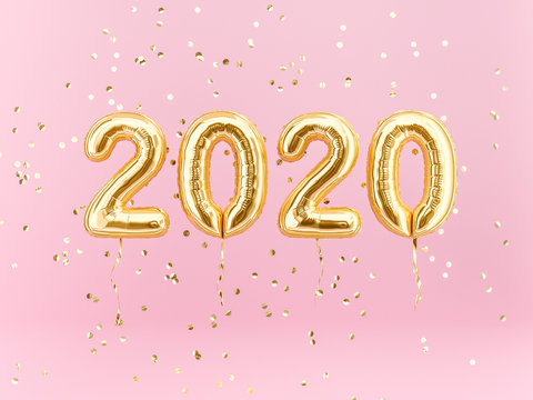 New year 2020 celebration. Gold foil balloons numeral 2020 and confetti on pink background. 3D rendering