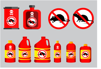 set of prohibited mouse in mouse poison concept. easy to modify