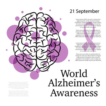 World Alzheimer day background with brain silhouette and purple circles