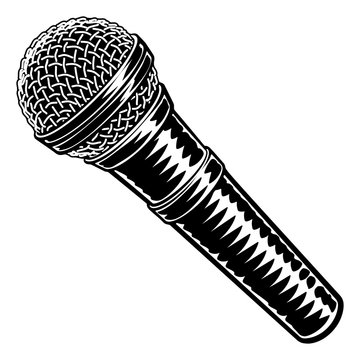 Microphone or mic in a vintage intaglio woodcut engraved or retro propaganda style