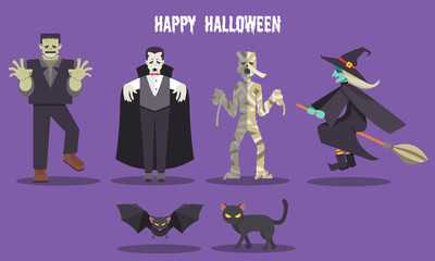 Halloween ghost character set including Frankenstein Dracula Mummy Witch Bat and Black cat