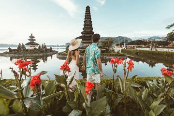 Young couple  at the Pura Ulun Danu Bratan, Bali