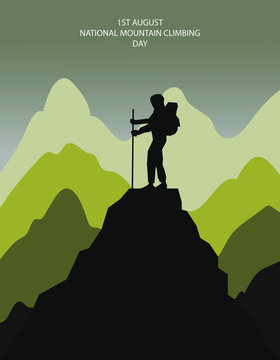 1st august national mountain climbing day illustration in vector
