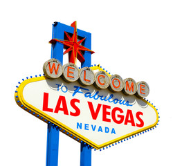 Poster Las Vegas Welcome to Las Vegas sign isolated on white background including clipping path.
