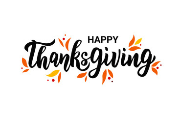 Happy Thanksgiving hand lettering text. Typography for logo, icon, card, invitation and banner template. Greeting card for Thanksgiving day celebration. Vector illustration.