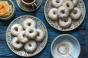 Spanish biscuits wine rings with icing sugar
