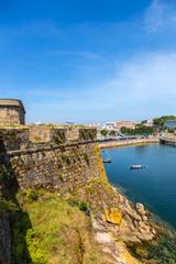 La Coruna, Spain. Scenic view of the fortress wall of the castle of San Anton