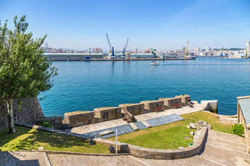 La Coruna, Spain. View from the castle of San Anton Bay and the port