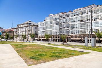 La Coruna, Spain. Facades of buildings on Montoto Avenue