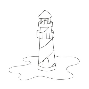 Coloring page for kids. Cartoon lighthouse. Vector illustration