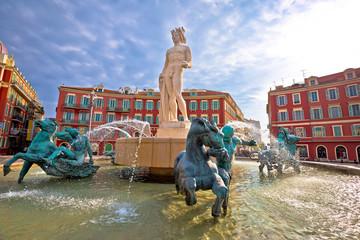 Foto op Canvas Nice City of Nice Place Massena square and Fountain du Soleil view, tourist destination of French riviera