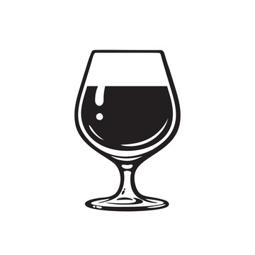 Glass of wine, brandy, cognac or whiskey. Wineglass icon. Snifter beer glass. Vector illustration on white background.