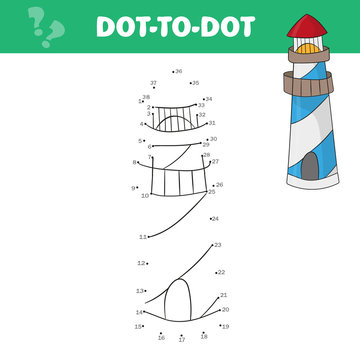Coloring page for kids. Cartoon lighthouse. Vector game dot-to-dot for kids