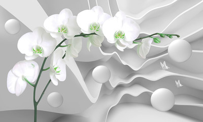 3d illustration white curves background  with white flowers