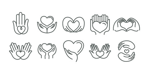 Vector set of logo design templates in simple linear style - hearts and hands