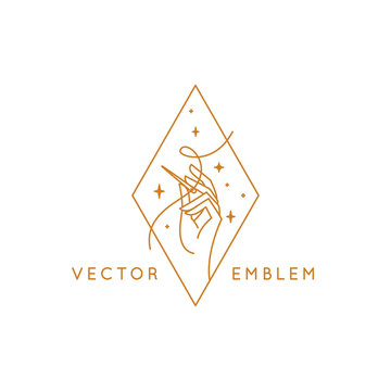 Vector logo design template in linear style - handmade embroidery and fashion