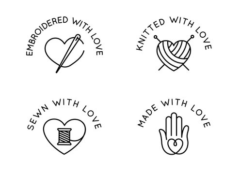 Vector set of logo design templates in simple linear style - handmade badges