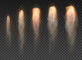 Fototapeta Space rocket bomb Smoke isolated on transparent background obraz