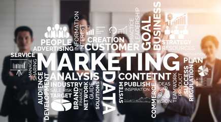 Digital Marketing Technology Solution for Online Business Concept - Graphic interface showing...