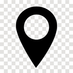 location pin icon on transparent. map marker sign. flat style. map point symbol. map pointer symbol. map pin sign.