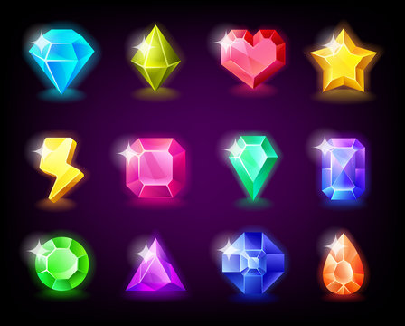 Jewelry gems set magic stone with sparkles for mobile game design. Vector illustration.