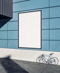 Empty blue wall with poster