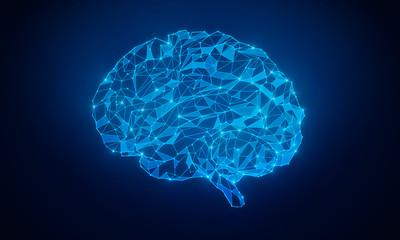 Glowing blue polygonal brain