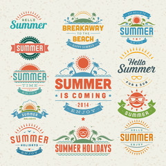 Summer design elements and symbols typographic labels and badges set vector illustration.
