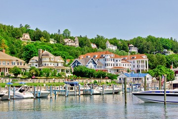 Sailboats and yachts may dock in the Mackinac Island State Harbor.