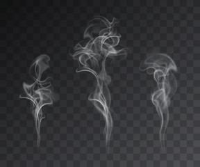 Fotobehang Rook Vector set of realistic smoke effects on dark background