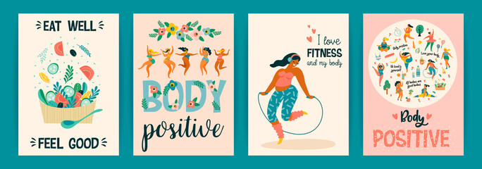 Body positive. Vector templates. Happy plus size girls and active healthy lifestyle.