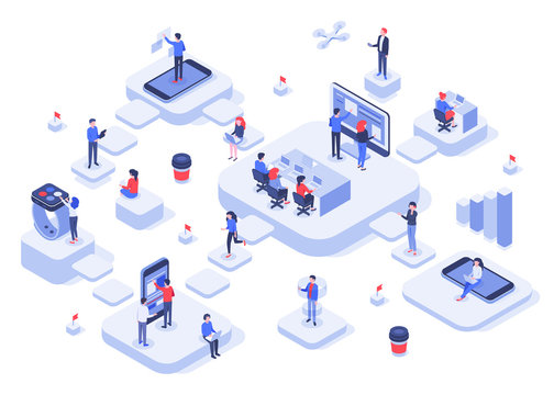 Isometric work team. Cloud workplaces platforms, modern teams workflow process and development company startup. Business technology work achievements, cowork offices 3d vector illustration