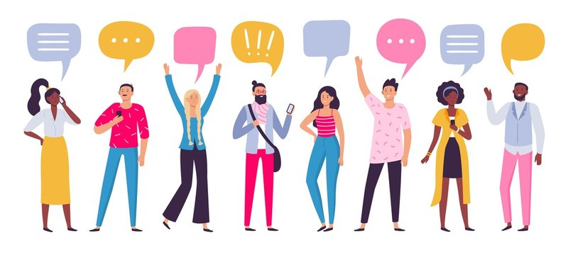 Communicating people. Chat dialog communication, smartphone call talking or speaking people group. Person conversation, discussion talk or brainstorming speaking bubble vector illustration