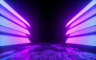 Canvas Prints Violet 3d render, bright pink violet neon abstract background, glowing panels in ultraviolet light, futuristic power generating technology