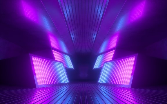 3d render, pink blue neon abstract background, glowing panels in ultraviolet light, futuristic power generating technology