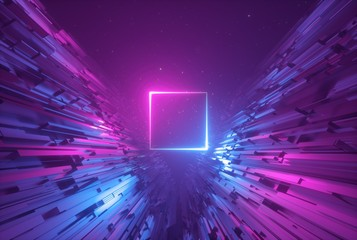 3d render, pink blue neon abstract background with glowing square, ultraviolet light, laser show, wall reflection, rectangular shape Fotoväggar