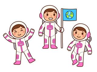 Cute cartoon astronaut girl