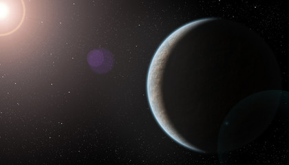 Realistic Rocky Planet with Blue Atmosphere and Lens Flare