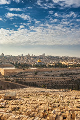Day view of Jerusalem old city from the Mount of Olives