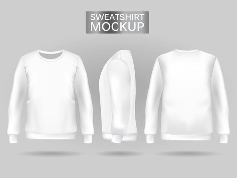 Blank men's white sweatshirt in front, back and side views. Vector illustration. Realistic male clothes for sport and urban style