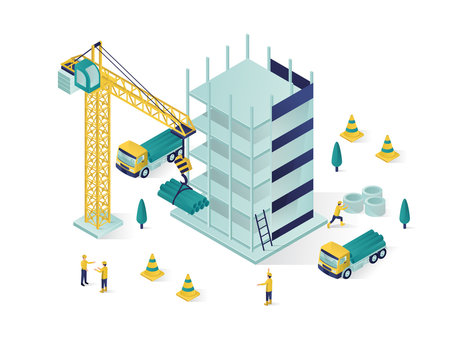 building under construction isometric illustration, under construction vector with people working