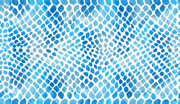 Texture of snakeskin blue on a white background in watercolor