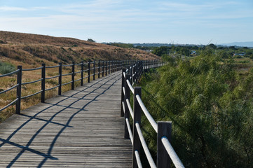 Lagoa dos Salgados in Albufeira, Portugal. Natural reserve and tourist attraction for birdwatching