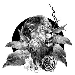 lion head with open mouth surrounded by tropical plants leaves and flowers composition, sketch vector graphics monochrome illustration on white background
