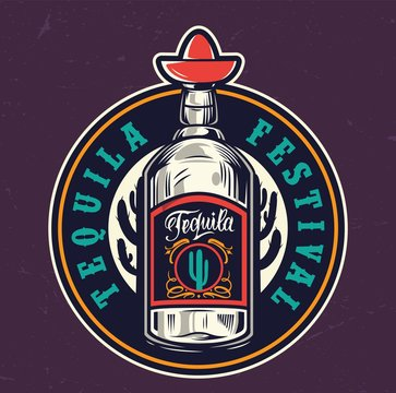 Mexican tequila festival colorful round label