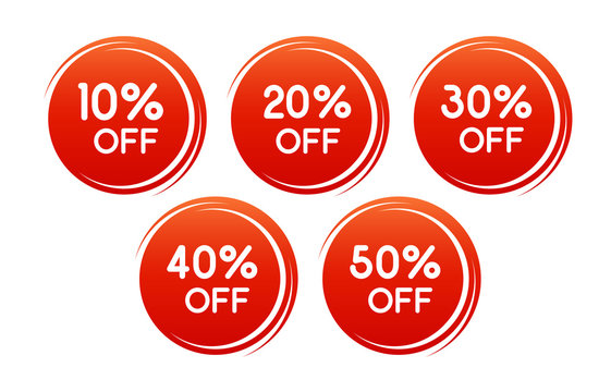 Vector round discount label for sales with different percents. Set of Red Sale stickers. Well separated from the background. Background can be changed.