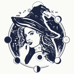 Witch woman in a black hat portrait tattoo. Female sorcerer and lunar alchemical eclipse. Dark magic, fairy tale and halloween t-shirt design