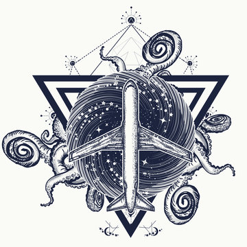 Bermuda triangle tattoo. Airplane and cthulhu kraken octopus. Mystical place. Paranormal zone of the North Atlantic ocean