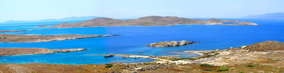 Superb panoramic view of the island of Delos, near Mykonos, beautiful Cycladic island, in the heart of the Aegean Sea