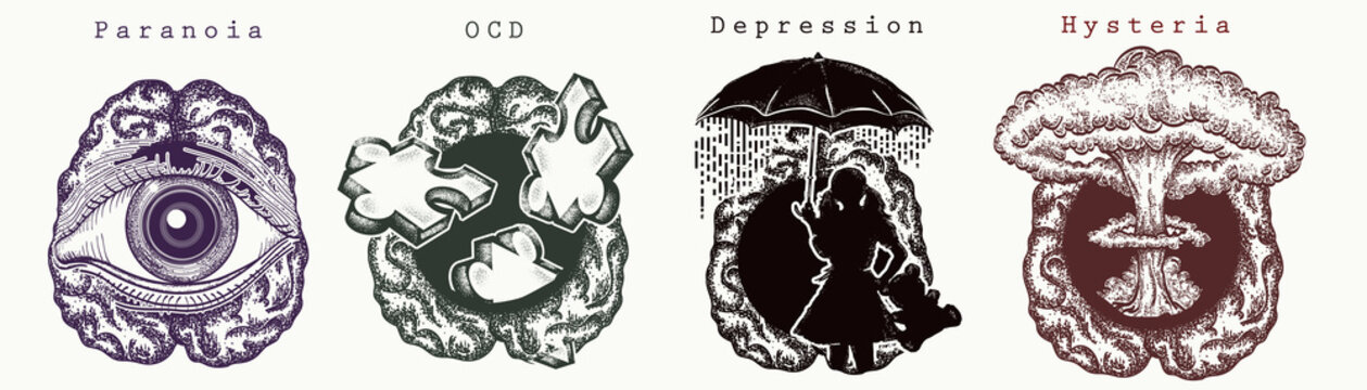 Psychology collection. Paranoia, OCD (Obsessive Compulsive Disorder), depression, Hysteria. Psychological vector illustration. Psychotherapy and psychiatry art